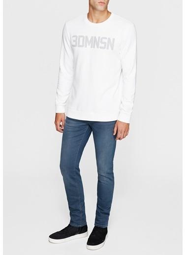 Mavi Baskılı Sweatshirt Beyaz